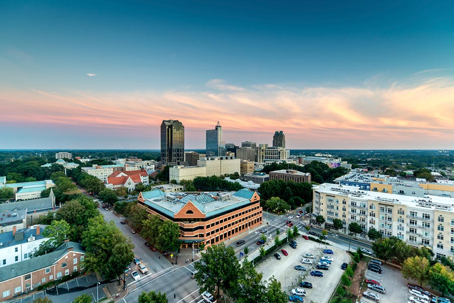 A beautiful shot of Raleigh, NC in the evening.