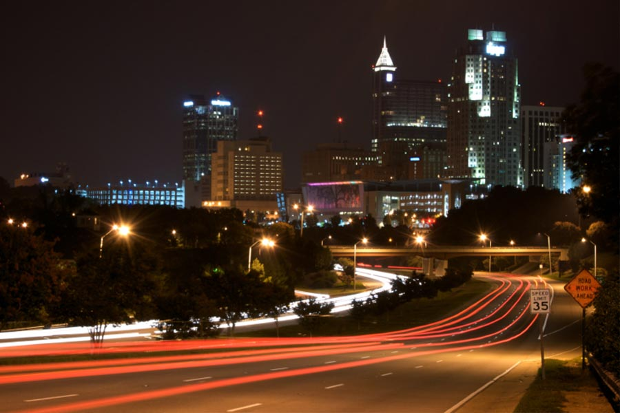 Raleigh at night.