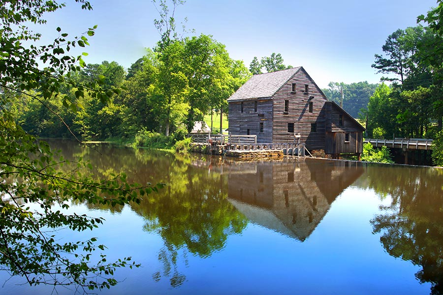 Yates Mill County Park, located in central Wake County is the home of Yates Mill, a restored 18th century gristmill that is operational today.