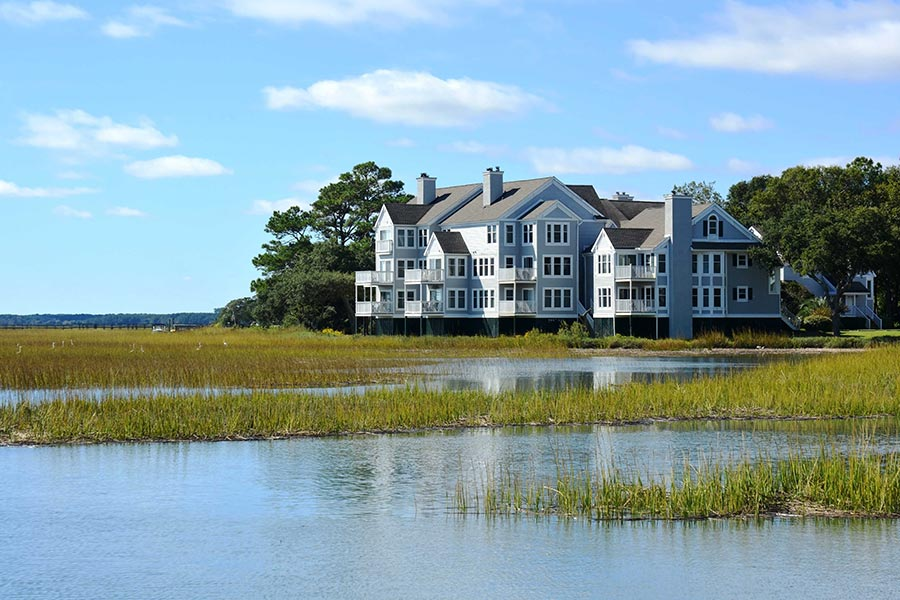 Murrells Inlet contains many beautiful, luxury waterfront homes.