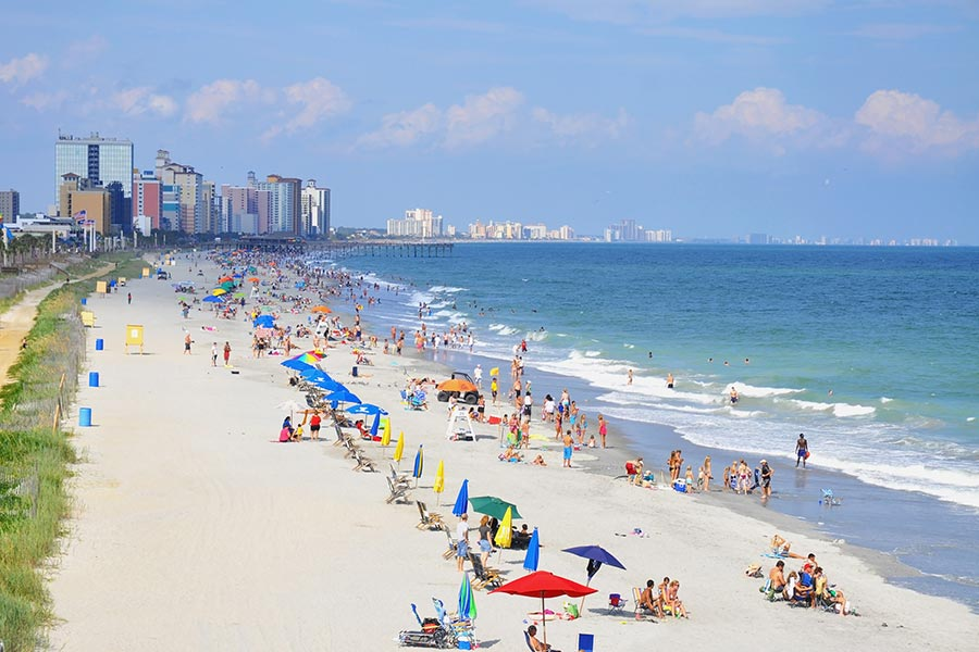 Great photo of Myrtle Beach's endless oceanfront.