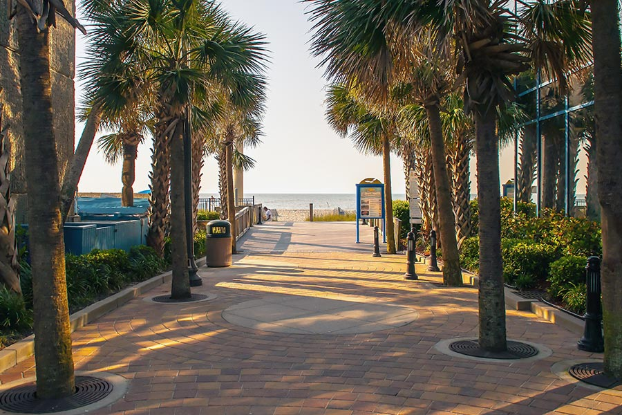 Myrtle Beach Boardwalk is a one mile oceanfront boardwalk that contains beachfront restaurants and businesses.