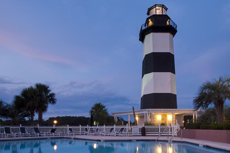 Dusk shot of a lighthouse in Little River South Carolina.