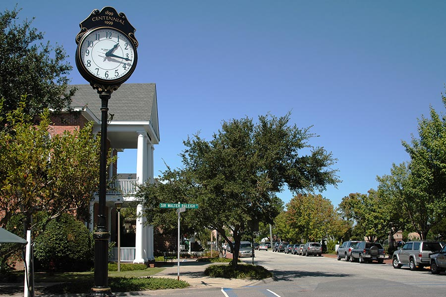 Clock in the small town of Manteo, North Carolina.