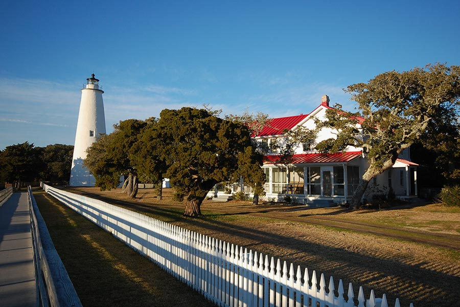 Ocracoke Lighthouse located in the southernmost part of the Outer Banks.