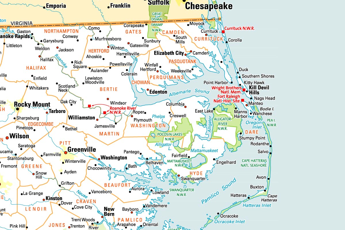 Map of the Outer Banks, NC