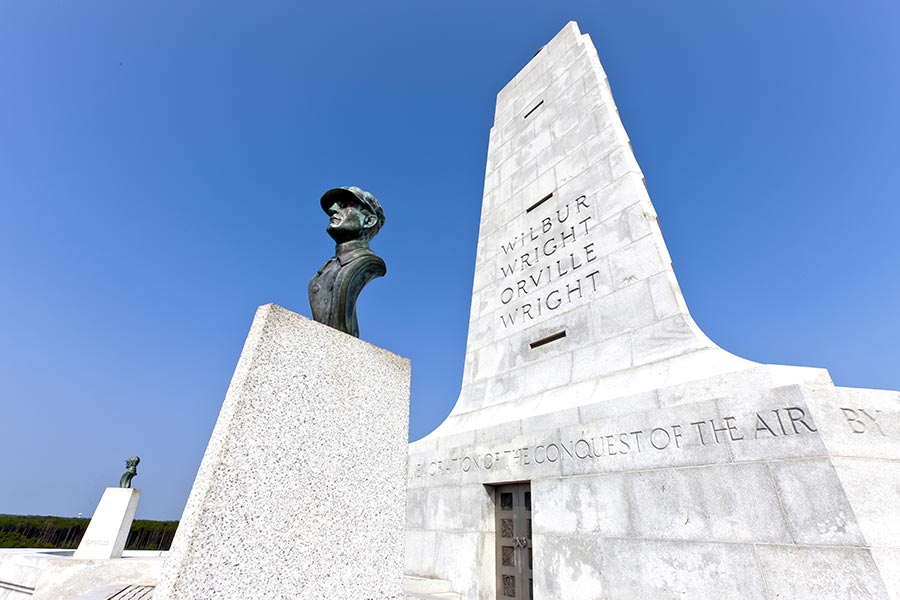 The Wright Brothers Monument, located in Kill Devil Hills, North Carolina.