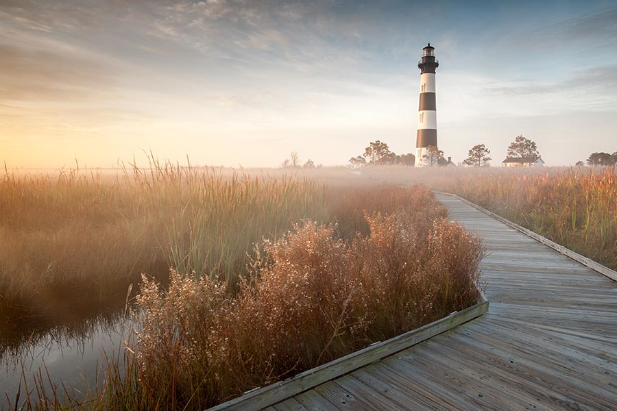 Bodie island lighthouse is a famous attraction in Cape Hatteras