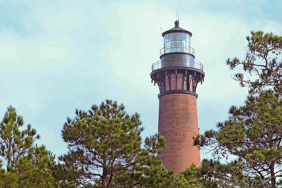 The distinctive Currituck Beach Lighthouse near Corolla.