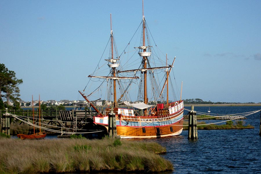 Historic ship Elizabeth II at Roanoke Island.