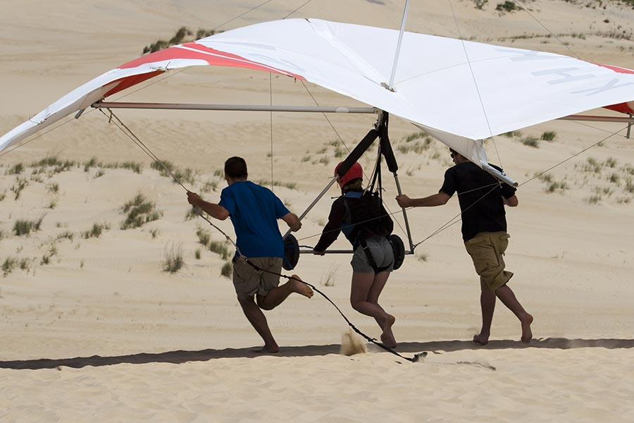 Hang gliding is a popular attraction at Jockey's Ridge State Park dunes in Kitty Hawk, NC.