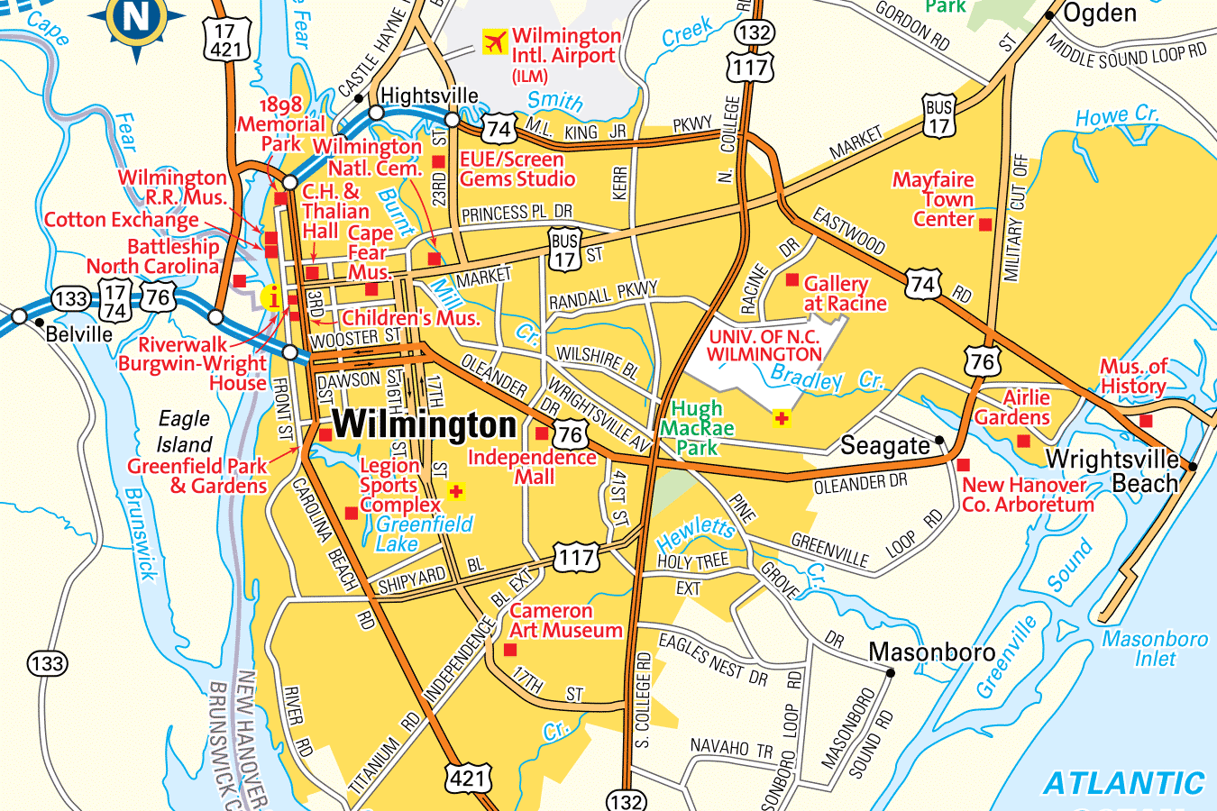 Wilmington, NC is a bound by the Cape Fear to the west and the Intracoastal Waterway to the East.