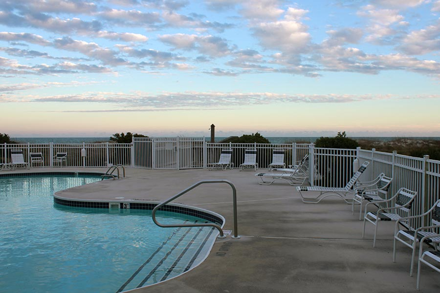 The Wrightsville Dunes pool sits oceanfront for gorgeous views of the Atlantic.