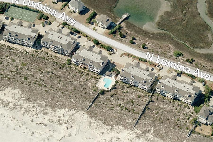 Aerial of Wrightsville Dunes, Wrightsville Beach, NC from Bing Maps.