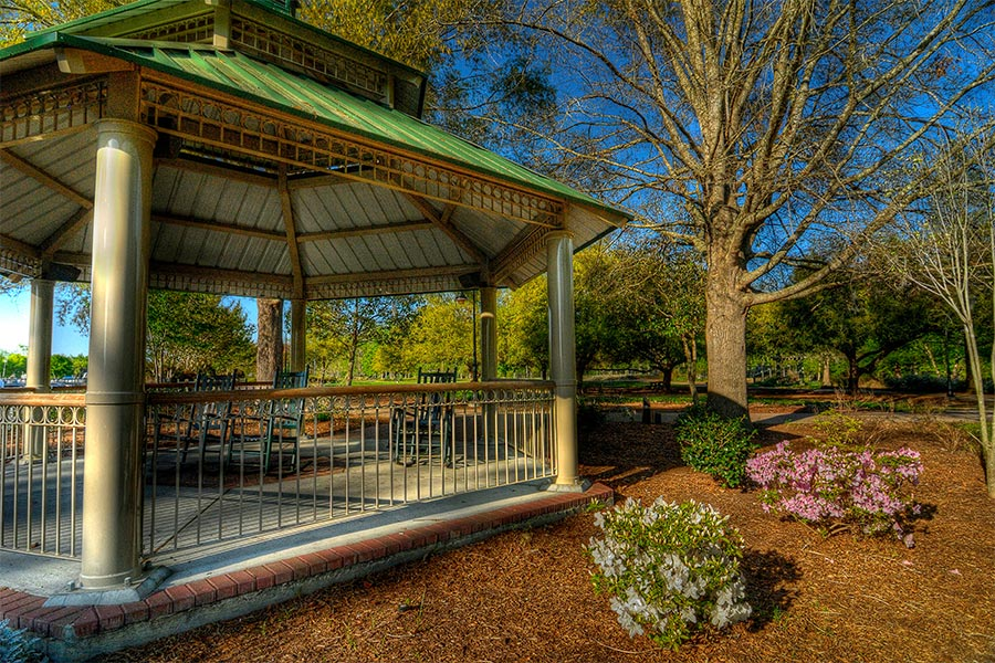 A beautiful shot of the gazebo in Gregory K. Martin Riverfront Park.