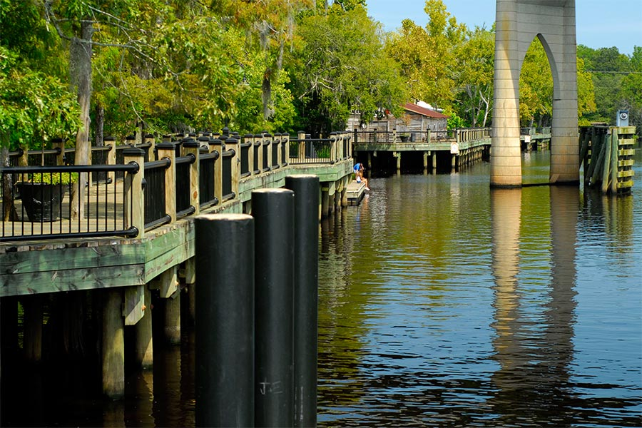 Conway's Riverwalk on the Waccamaw River.