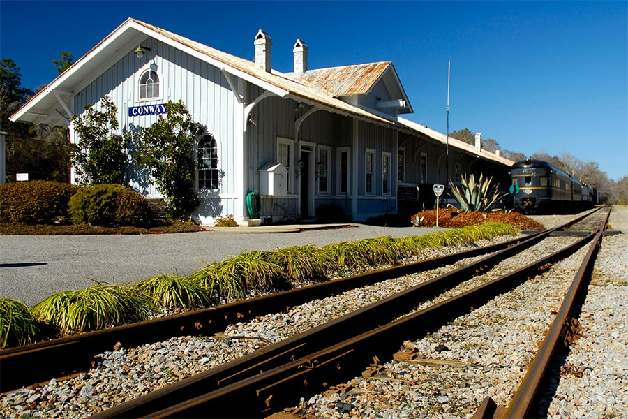The Conway train depot is the epitome of the small-town feel.