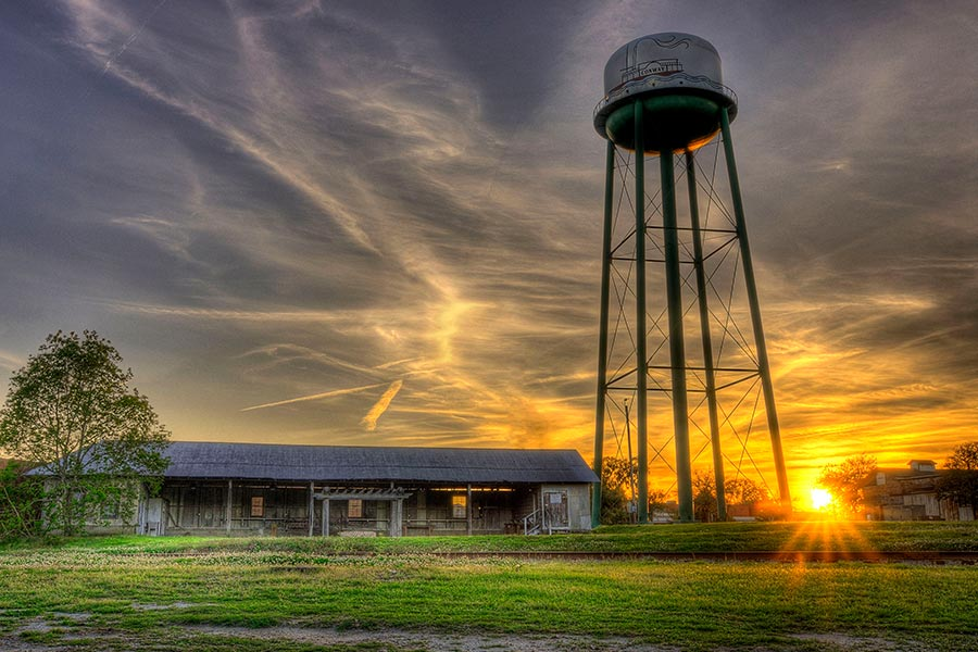 A gorgeous sunset behind the water tower in Conway, SC.