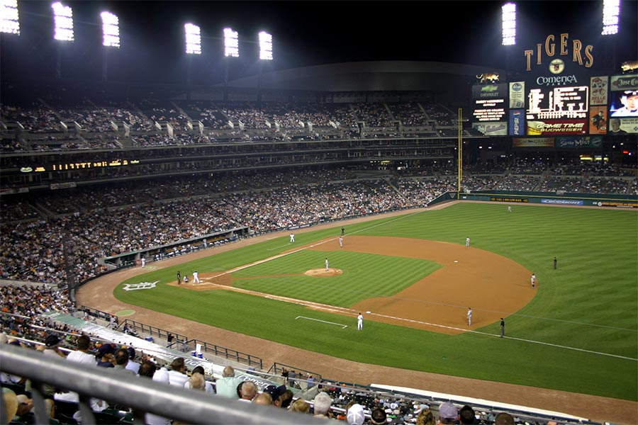 Catch a Major League Baseball game with the Detroit Tigers at Comerica Park.