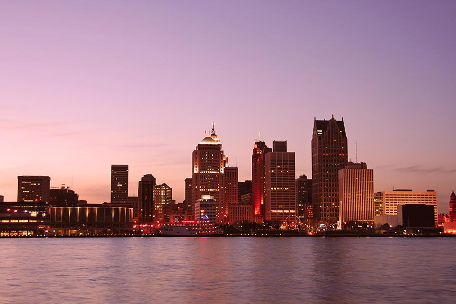 Beautiful shot of Detroit skyline at dusk.