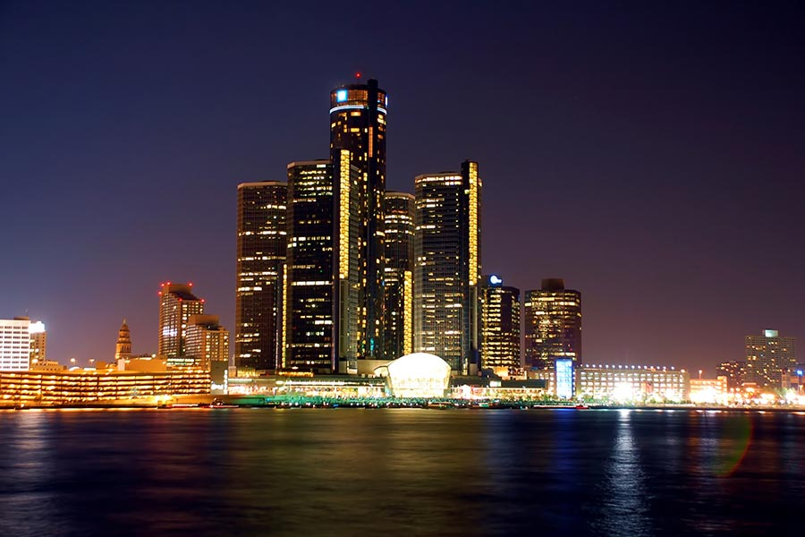 Great photo of the Detroit skyline in the evening.