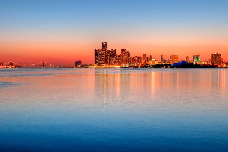 Another captivating and colorful Detroit skyline.