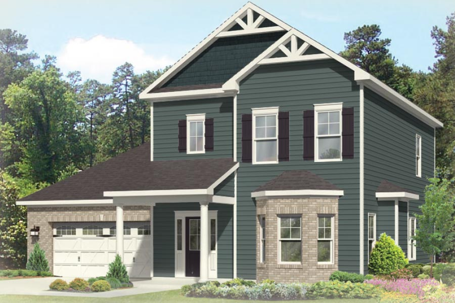 The Sand Dollar offers 1,730 sq ft of living space with 3 bedrooms, 2.5 baths, 2 car garage and an impressive great room. 9 ft ceilings on both floors, hardwood floors downstairs and  more.