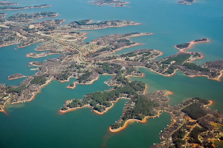 An aerial view of Lake Norman.