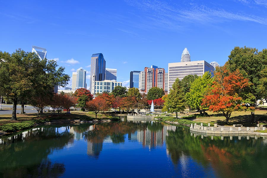 A beautiful autumn day in Charlotte's Marshall Park.