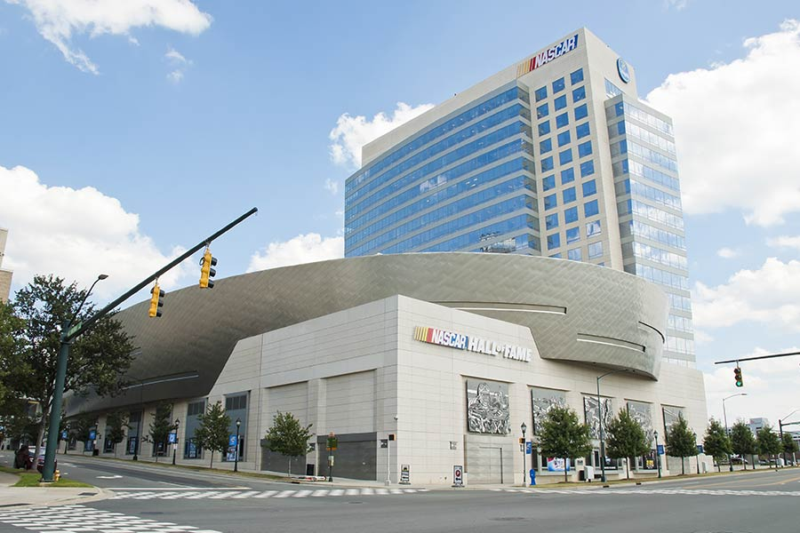The Nascar Hall of Fame, located in downtown Charlotte is a popular attraction for race fans of all ages.