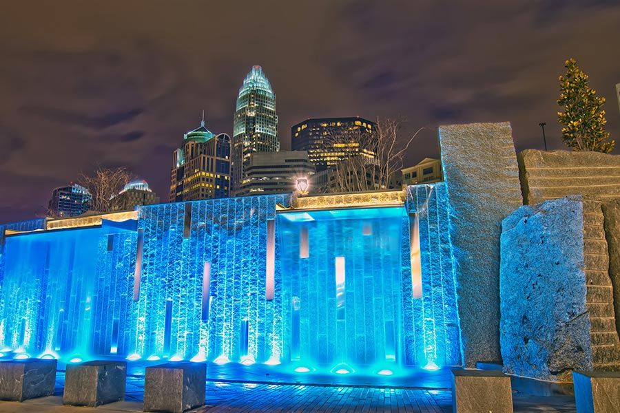 Romare Bearden Park at night.