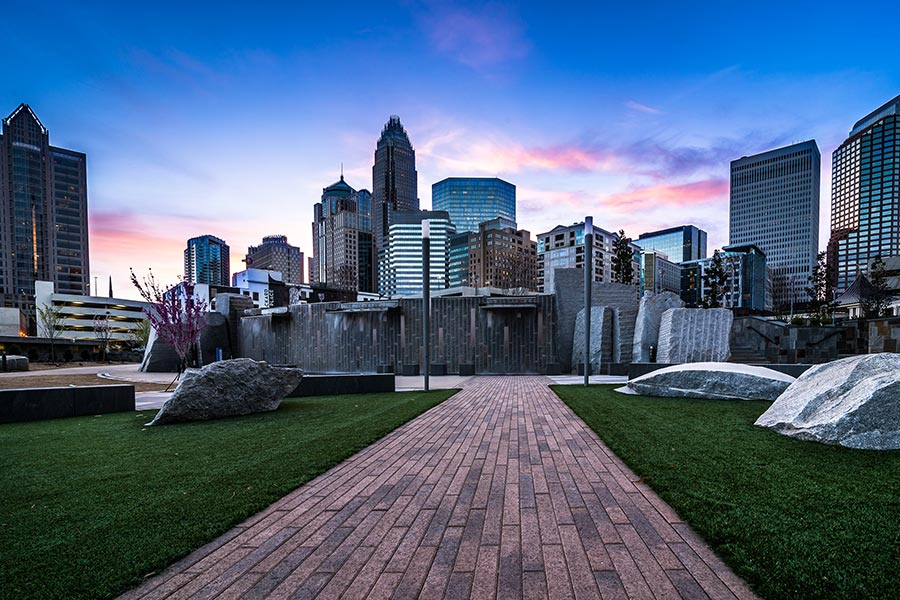 The Charlotte skyline from Romare Bearden Park.