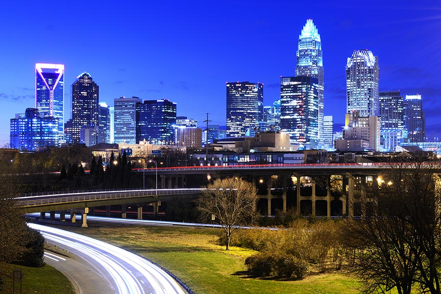 A great shot of Charlotte North Carolina's skyline (financial district) at night.