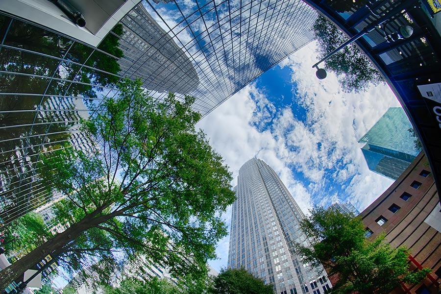 A cool shot looking up between some of downtown Charlotte's largest skyscrapers.