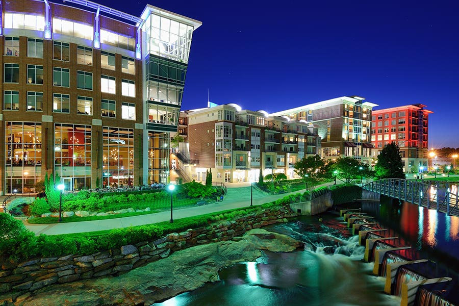 Falls Park in Downtown Greenville is home to some remarkable restaurants and numerous events. Only 15 minutes from Greer.