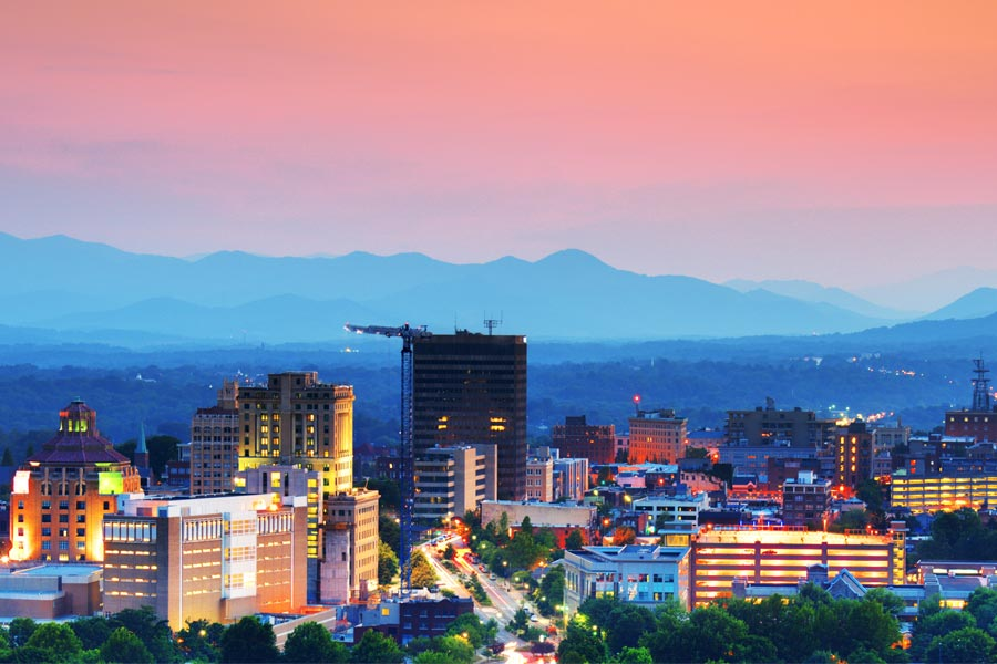 The beautiful mountain city of Asheville, North Carolina is only an hour from Greer.