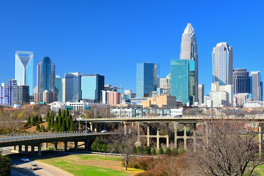 Charlotte, North Carolina is located 90 miles to the northeast.